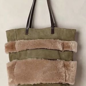 NWT Anthro Shearling Stripe Tote Bag Leather